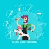 Cão bonito no salão de beleza do groomer e no grupo de ícones Fotografia de Stock