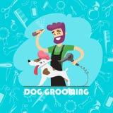 Cão bonito no salão de beleza do groomer e no grupo de ícones Fotos de Stock