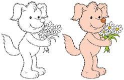 Cão com as flores Imagens de Stock Royalty Free