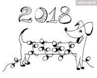 Cão com festão ilustração do vetor