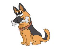Cão com ilustração do osso Fotografia de Stock Royalty Free
