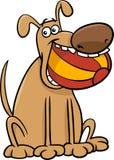 Cão com ilustração dos desenhos animados da bola ilustração royalty free