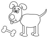 Cão com o osso no esboço ilustração royalty free