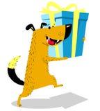 Cão com presente Arries bonitos do  do animal de estimação Ñ uma caixa de presente Ilustração do vetor ilustração royalty free
