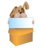 Cão com tabela Imagens de Stock