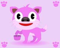 Cão cor-de-rosa com a cesta no pé Fotos de Stock Royalty Free