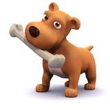 cão 3d e osso ilustração stock