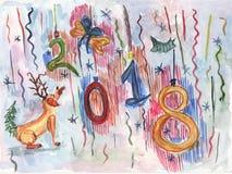Cão da aquarela para o cartão 2018 do Natal ou do ano novo Fotografia de Stock Royalty Free