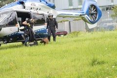 Cão da bobina que vem para fora helicóptero da polícia imagem de stock royalty free