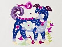 Cão da estaca do papel chinês foto de stock royalty free