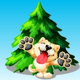 Cão de Akita Inu e árvore de abeto Fotos de Stock