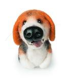 Cão de brinquedo de feltro isolado no branco Foto de Stock Royalty Free