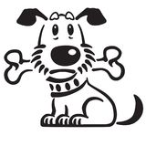 Cão de cachorrinho dos desenhos animados que guarda um osso em sua boca Fotos de Stock Royalty Free