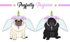 cão de cachorrinho triste do pug do vetor que sentam-se para baixo, capota cor-de-rosa vestindo com o chifre do unicórnio com as  foto de stock royalty free