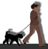 Cão de passeio da mulher ilustração do vetor
