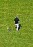 Cão de passeio do homem em um campo gramíneo Fotografia de Stock Royalty Free