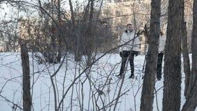 Cão de passeio dos pares no parque nevado filme