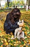 Cão de puxar trenós siberian da jovem mulher e do cão pequeno Fotografia de Stock Royalty Free