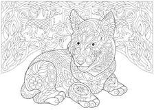 Cão de puxar trenós Siberian de Zentangle e cães heráldicos Imagem de Stock