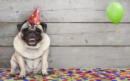 Cão de sorriso do pug da festa de anos, com os confetes e o balão, sentando para baixo a comemoração, no backgrond de madeira vel imagens de stock