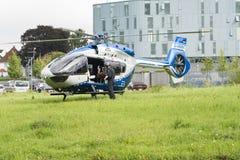 cão dearrasto que vem para fora helicóptero da polícia fotografia de stock