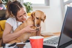 Cão do abraço da mulher que senta-se no assoalho fotografia de stock