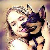 Cão do amor da menina Fotografia de Stock