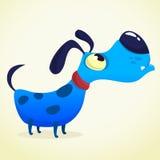 Cão do azul dos desenhos animados Ilustração do vetor no fundo branco Fotos de Stock Royalty Free
