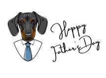 Cão do bassê Cartão do dia de pais Camisa, laço, gravata Rotulação feliz do dia de pais Vetor ilustração stock