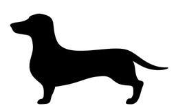 Cão do bassê Silhueta preta do vetor Imagens de Stock Royalty Free
