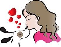 Cão do beijo da mulher Foto de Stock Royalty Free