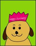 Cão do feliz aniversario com uma coroa Ilustração Royalty Free