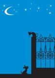Cão do gato da silhueta Fotografia de Stock Royalty Free