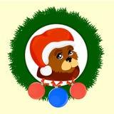 Cão do ` s do ano novo com bolas ilustração stock