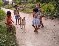 Cão doméstico e crianças na região rural fotos de stock
