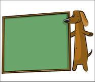 Cão dos desenhos animados com a bandeira para o texto Imagem de Stock