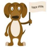 Cão dos desenhos animados com a bandeira para o texto Imagens de Stock Royalty Free