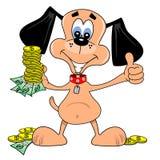 Cão dos desenhos animados com dólares Foto de Stock Royalty Free