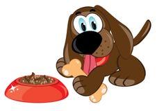 Cão dos desenhos animados com um osso Imagens de Stock Royalty Free