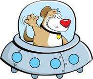Cão dos desenhos animados em uma nave espacial Fotos de Stock Royalty Free