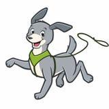 Cão dos desenhos animados na trela ilustração stock