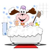 Cão dos desenhos animados no banho ilustração stock