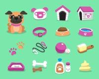 Cão e acessórios do pug dos desenhos animados ajustados ilustração stock