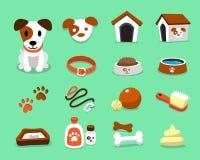 Cão e acessórios do terrier de russell do jaque do personagem de banda desenhada ajustados ilustração stock