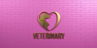 Cão e Cat Gold Logo veterinários no projeto cor-de-rosa da parede 3d rendem a ilustração Imagens de Stock