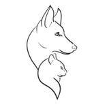 Cão e Cat Silhouettes. Esboço do vetor Fotos de Stock Royalty Free