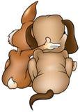 Cão e coelho ilustração royalty free