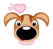 Cão e corações - vetor Imagens de Stock
