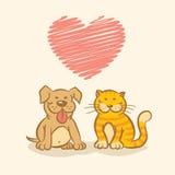 Cão e gato Imagens de Stock Royalty Free