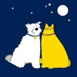Cão e gato ilustração royalty free